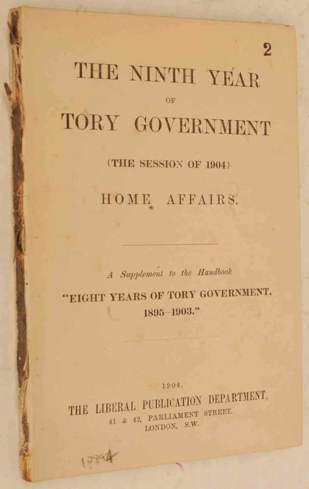 The Ninth Year of Tory Government. Winst S. Churchill, foreword.