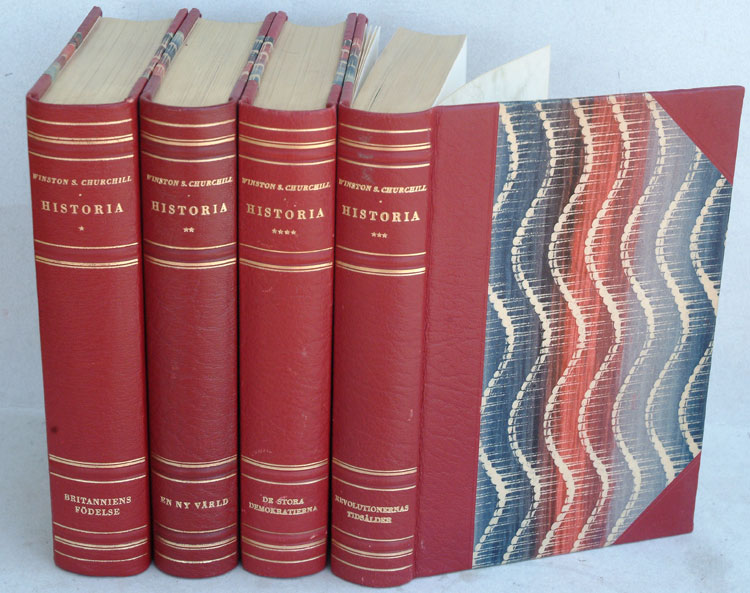 Historia ( Swedish translation of A History of the English-speaking Peoples.in 4 volumes.). Winston S. Churchill.