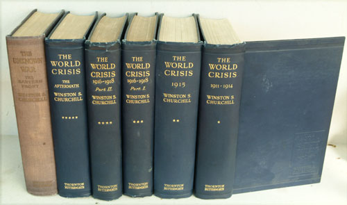 The World Crisis 6 volumes complete, each inscribed to Charles Hughes. Winston S. Churchill.