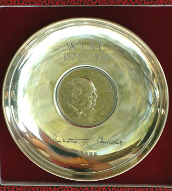 Sterling Silver dish with Churchill crown. Winston S. Churchill.