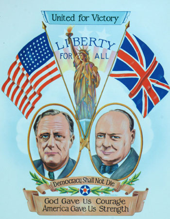 Large wartime poster of Churchill and Roosevelt. Glen Osborn.