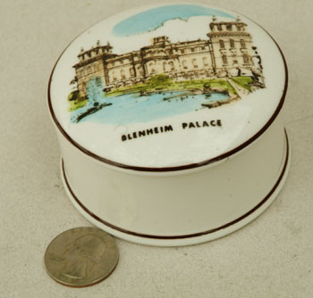 Coalport Blenheim Palace lidded pin dish. Winston S. Churchill.
