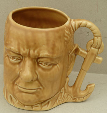 Churchill character jug with anchor handle. Winston S. Churchill.