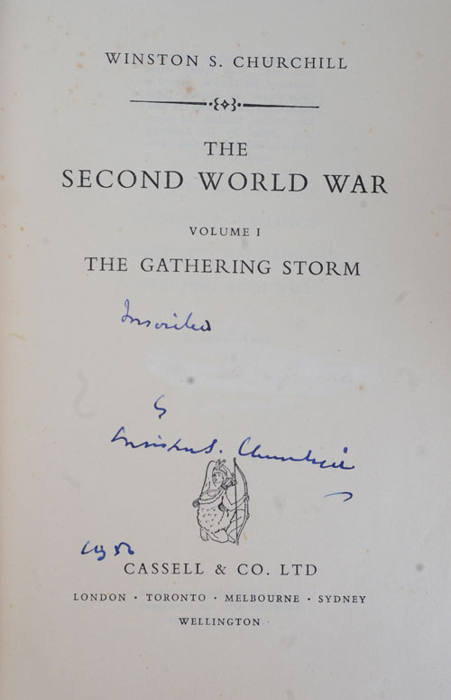 The Second World War, first edition set signed in Vol. I. Winston S. Churchill.