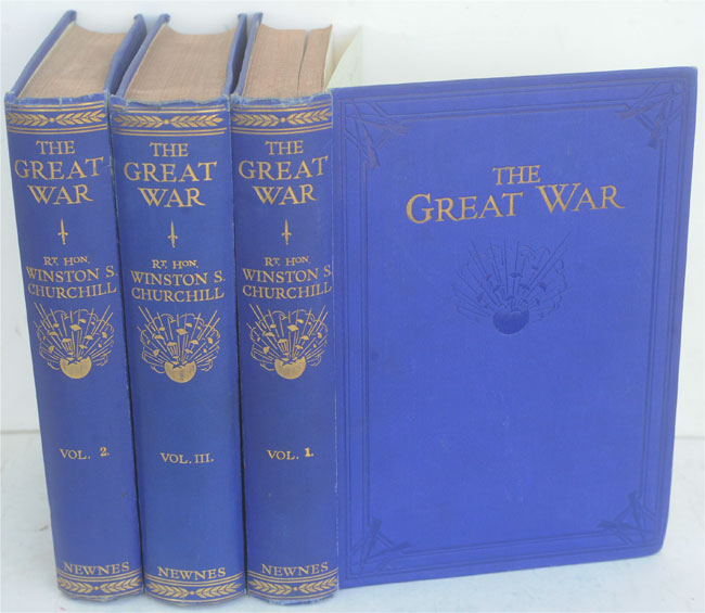 The Great War (bound in 3 blue volumes). Winston S. Churchill.