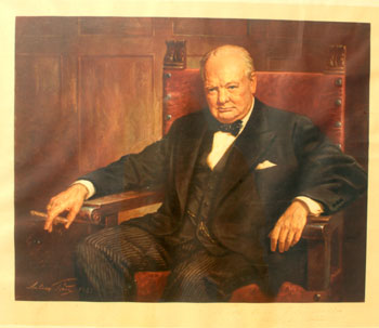The famous Arthur Pan print of Churchill signed by the artist. Winston S. Churchill.