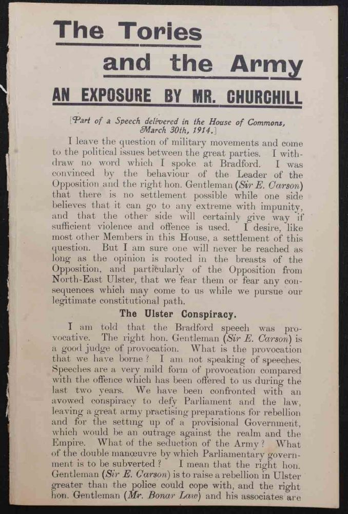 The Tories and the Army. Winston S. Churchill.