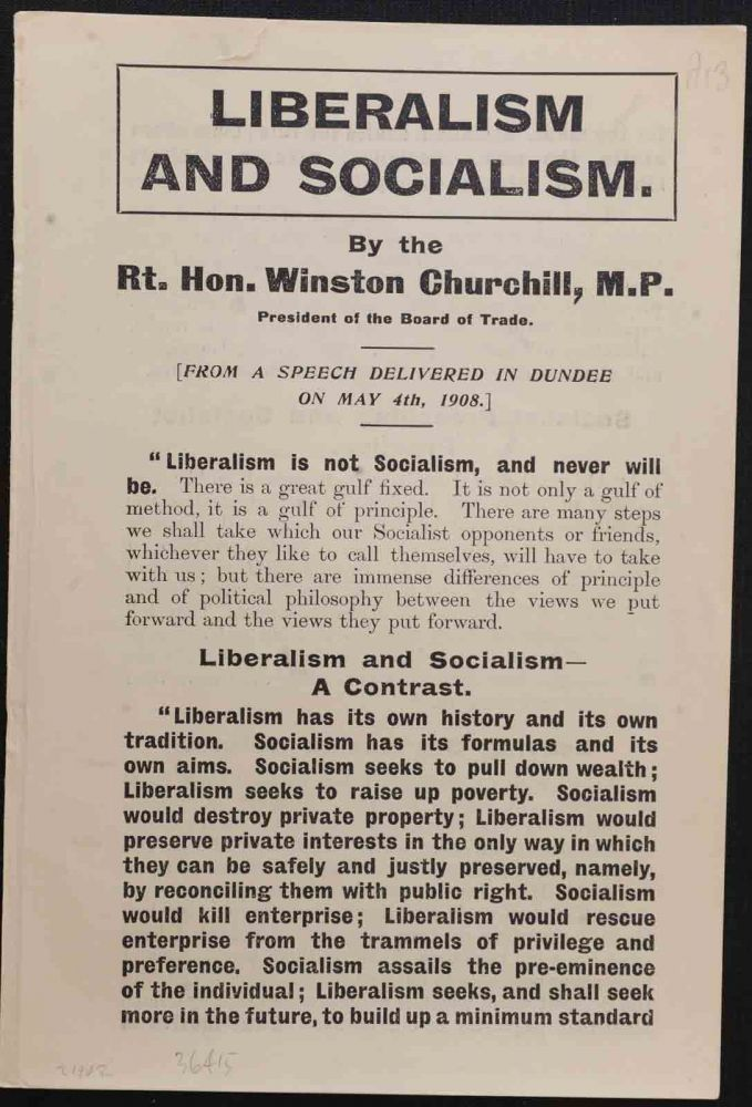 Liberalism and Socialism. Winston S. Churchill.
