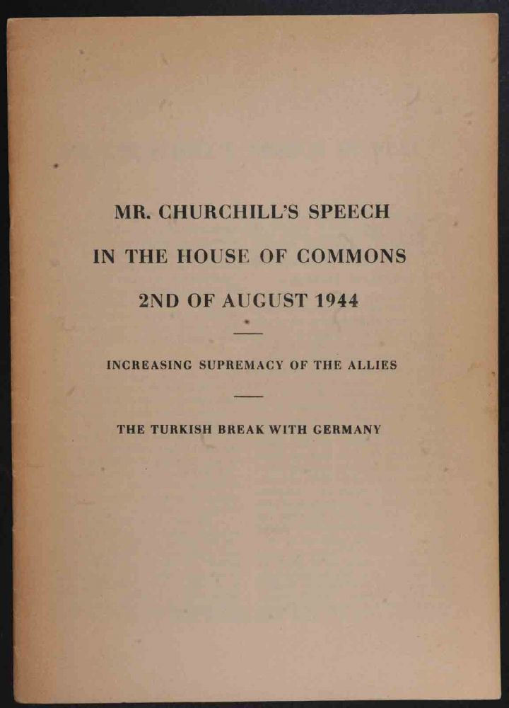 Mr. Churchill's Speech in the House of Commons 2nd of August 1944