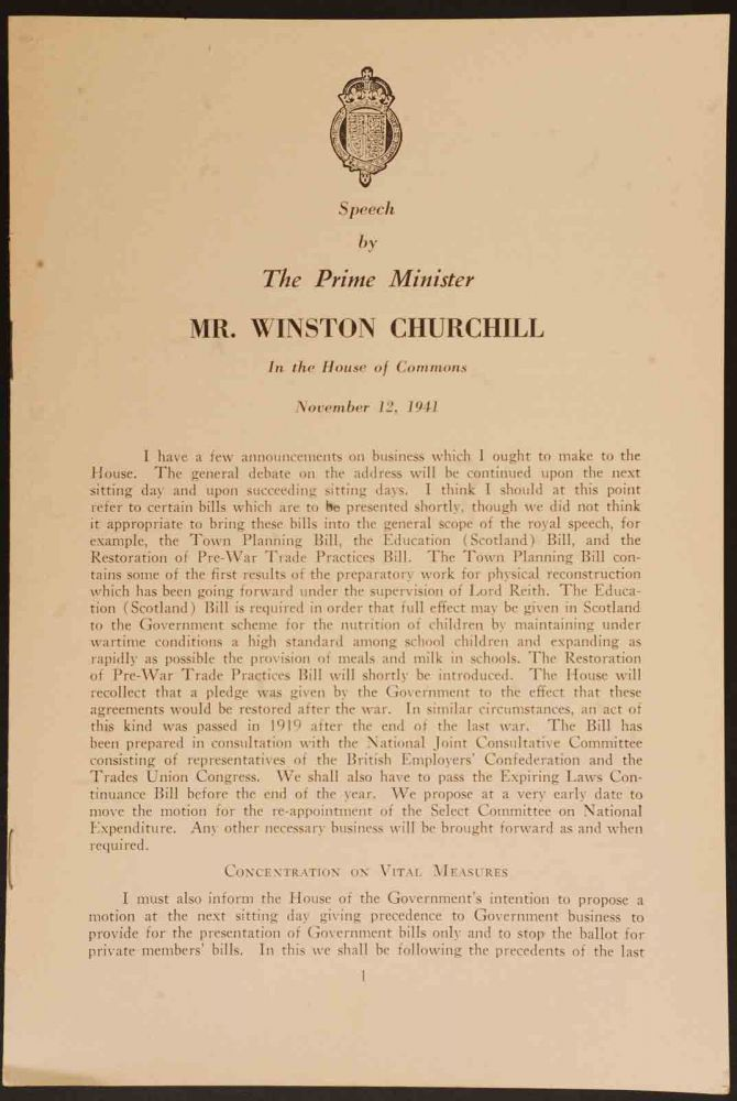 Speech by The Prime Minister Mr. Winston Churchill in the House of Commons November 12, 1941. y. Winston S. Churchill.