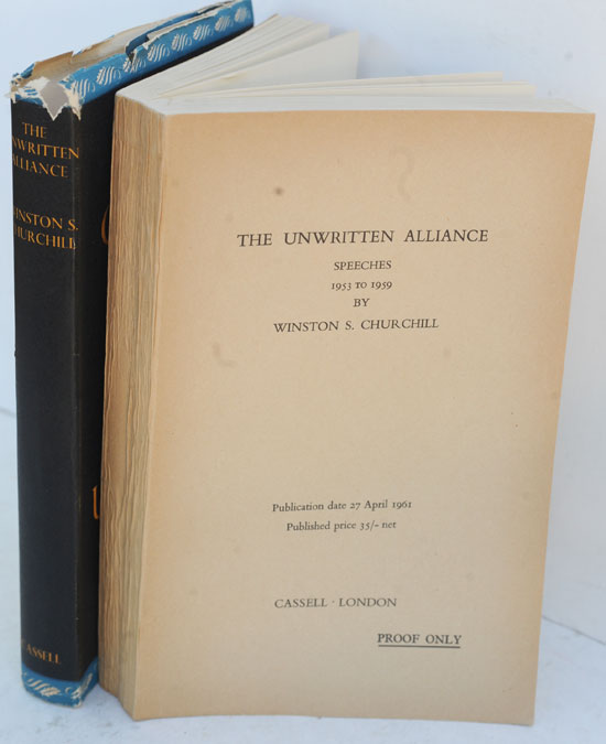The Unwrtten Alliance & American Civil war, 2 PROOFS with letter. Winston S. Churchill.