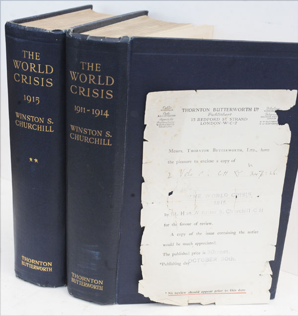 The World Crisis volumes I and II, Review Copies. Winston S. Churchill.