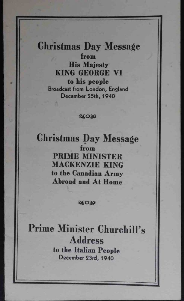 Christmas Day Messages from King George Vi to his people.
