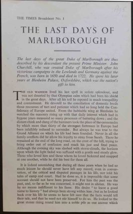 The Last Days of Marlborough, Times Broadsheet no. 1. Winston S. Churchill.