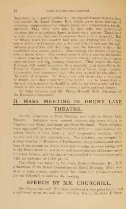 National Demonstration in Favour of Land & Housing Reform In Bound volume 1907 Pamphlets and Leaflets