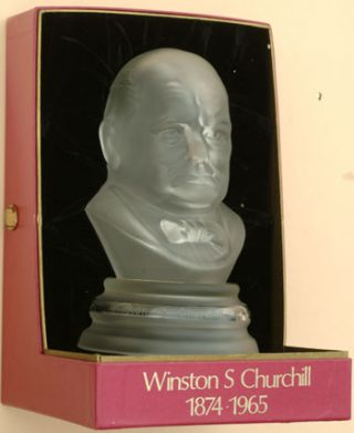 Glass bust by Webb Corbett Crystal. Winston S. Churchill.