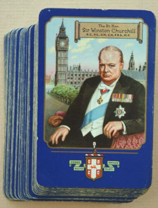 Full deck of 1955 Churchill playing cards. Winston S. Churchill.