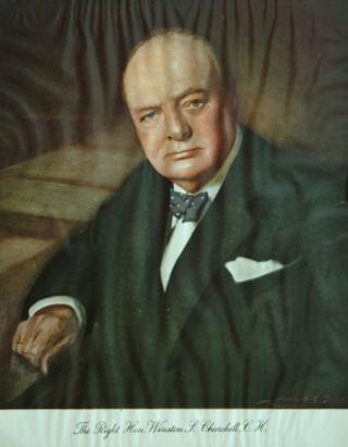 Wartime colour portrait of Churchill for charity. Winston S. Churchill