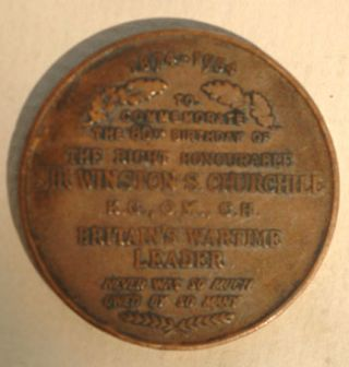 Churchill 80th Birthday bronze medal 1954. Winston S. Churchill.