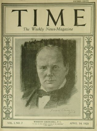 Churchill's first appearance on the cover of TIME, 14 April 1923. Winston S. Churchill