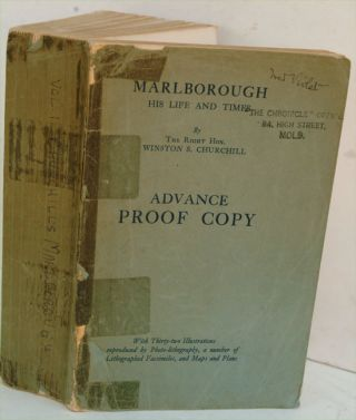 Marlborough Volume I, Advance Proof Copy. Winston S. Churchill.