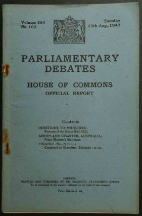 Parliamentary Debates 13 August 1940