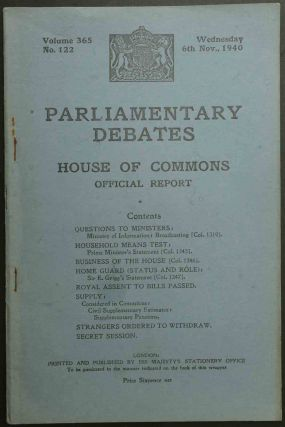 Parliamentary Debates 6 November 1940