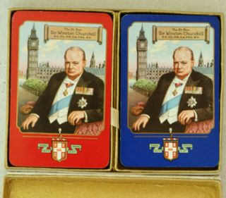 Boxed Double deck set of Churchill playing cards 1955. Winston S. Churchill.