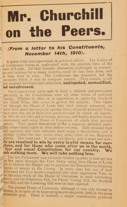 Mr. Churchill on the Peers in Liberal Pamphlets 1910
