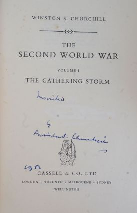 The Second World War, first edition set signed in Vol. I. Winston S. Churchill