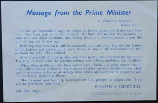 Message from the Prime Minister. Winston S. Churchill