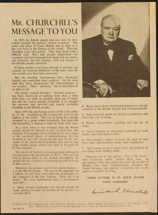 Mr. Churchill's Message to You. Winston S. Churchill.