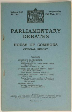 Parliamentary Debates 13 November 1940. Winston S. Churchill