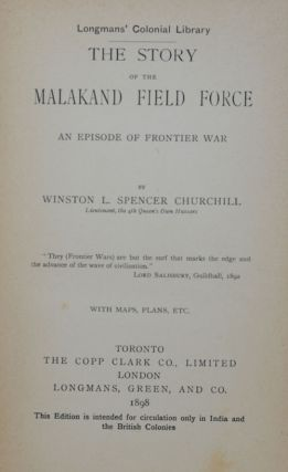 The Story of the Malakand Field Force (Canadian 1st)